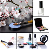 Different makeup products collage. Eyeshadows, blusher,nail polish Royalty Free Stock Photo