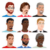 Different male avatars Stock Photos