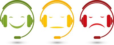 Male, face and headphones, smiley, colored, rating. Different males, face and headphones, facial expressions, faces in color, rating illustration stock illustration