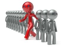 Different man character people individuality new opportunities. Different man character people individuality red stand out from the white crowd unique think stock illustration