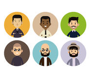 Different man face people style circle icons Royalty Free Stock Photography