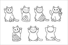 Different Maneki neko / neco set, a cat with a raised paw Japanese luck symbol, vector illustration, with coin, fish. Different Maneki neko / neco set, a cat Royalty Free Stock Image