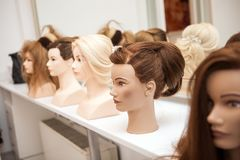 Different mannequin with different hairstyles Royalty Free Stock Photography