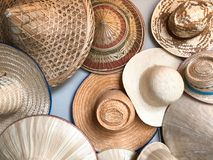 Different of many hat. Hanging on wall Stock Photo