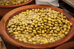 Different marinated olives and local food on spanish street mark Royalty Free Stock Image