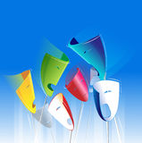 Different Masks Expressions. On The Blue Background Stock Image