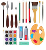 Different materials for artists. Equipment for painting. Vector illustrations vector illustration