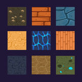 Different Materials and Textures for the Game. Flat set stone, wood, earth Royalty Free Stock Images