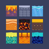 Different Materials and Textures for the Game. Set Stock Photography