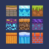 Different Materials and Textures for the Game. Set Royalty Free Stock Photography