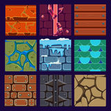 Different Materials and Textures for the Game. Vector flat set Stock Images
