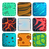 Different Materials and Textures for the Game. Vector flat set Royalty Free Stock Images