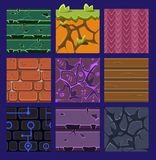Different Materials and Textures for the Game. Vector flat set Royalty Free Stock Photos