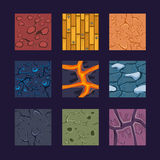 Different Materials and Textures for the Game. Vector flat set stone, wood, earth Stock Photos