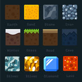 Different materials and textures for the game. Vector flat tile set. Ground, sand, stone, gold, silver, lava, metal, iron, snow Royalty Free Stock Photography