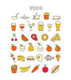 Different meal thin line color icons set Stock Photos