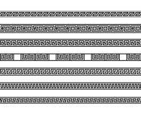 Different meander ansient element patterns line Stock Image