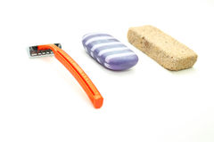 Different means of hygiene - pumice, the machine for shaving and Royalty Free Stock Images