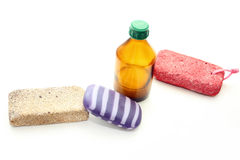 Different means of hygiene - pumice, soap and lotion Royalty Free Stock Image