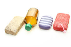 Different means of hygiene - pumice, soap and lotion Royalty Free Stock Images