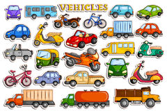 Different means of transportation vehicle in sticker style. Vector illustration of different means of transportation vehicle in sticker style Royalty Free Stock Photo