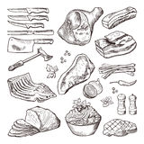 Different meat food. Pork, bacon and kitchen accessories. Knife and axe vector hand drawn picture. Different meat food. Pork, bacon and kitchen accessories Royalty Free Stock Photography