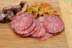 Different meat products (sausages, salami, breaded chicken breas Stock Images