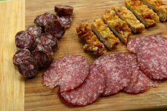 Different meat products (sausages, salami, breaded chicken breas Royalty Free Stock Photos