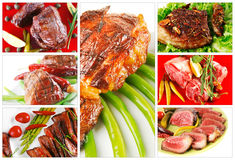 Different meat types on white Stock Photography