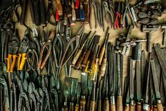 Different mechanic tools old vintage carpenter collections at workshop royalty free stock photos