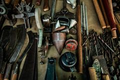 Different mechanic tools engineer instrument stock photo
