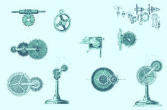 Different mechanical moving parts Stock Image