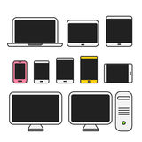 Different media devices collection Royalty Free Stock Images