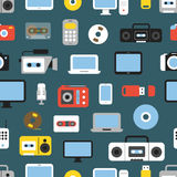 Different media devices color seamless background Stock Images