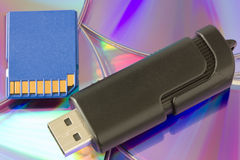 Different media storage. Cd , dvd, usb device and sd card Royalty Free Stock Image