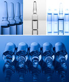 different medical ampoules on a blue background Stock Photography