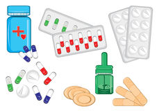 Different medical bottles and tablets Royalty Free Stock Photography