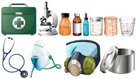 Different medical equipments on white background Royalty Free Stock Image