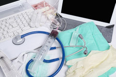 Different medicals instruments. With computers Royalty Free Stock Photo