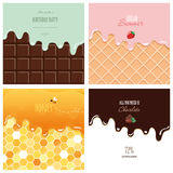 Different melted textures set. Cream on the chocolate bar, ice-cream on the wafer, honey on the honeycomb. Cute design Royalty Free Stock Photography