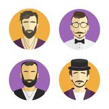 Different men hipster avatar, vector illustration set collection Stock Photos