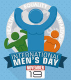 Different Men Shapes in Commemorative Design for International Men`s Day, Vector Illustration. Poster with various men pictograms celebrating their differences Royalty Free Stock Photos