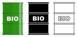 Industry concept. Set of different metal barrels for liquid substances, liquids, biofuel isolated in flat style: colored. Different metal barrels for liquid Stock Photos