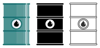 Industry concept. Set of different barrels for oils, hazardous, dangerous, flammable and poisonous substances isolated in flat sty. Different metal barrels for Royalty Free Stock Photo