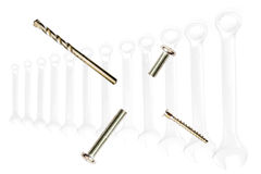 Different metal bolts Royalty Free Stock Images