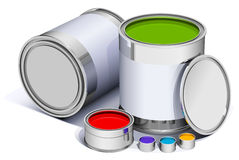 The different metal cans with paint Royalty Free Stock Image