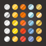 Different metal circle gradients set on black Royalty Free Stock Photo