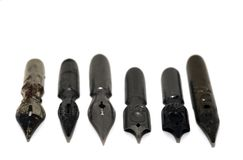 Different metal nibs Stock Photo
