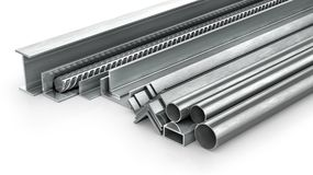 Different metal products. Metal profiles and tubes. 3d. Illustration Stock Images