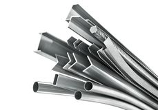 Different metal products. Metal profiles and tubes. 3D. Illustration Royalty Free Stock Photography